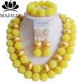 Fashion nigerian wedding african beads jewelry Set yellow plastic beads necklace bracelet earrings jewelry set VV-082