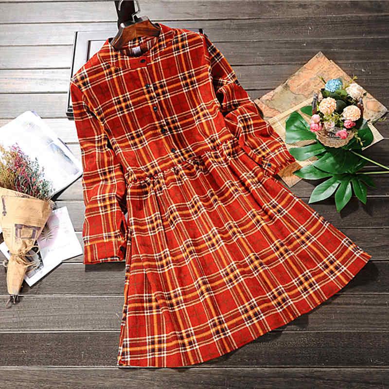 JIU YI YANG вельветовое женское ретро платье воротник стойка высокая эластичная резинка на талии платье слово с длинным рукавом платье с принтом, в клетку