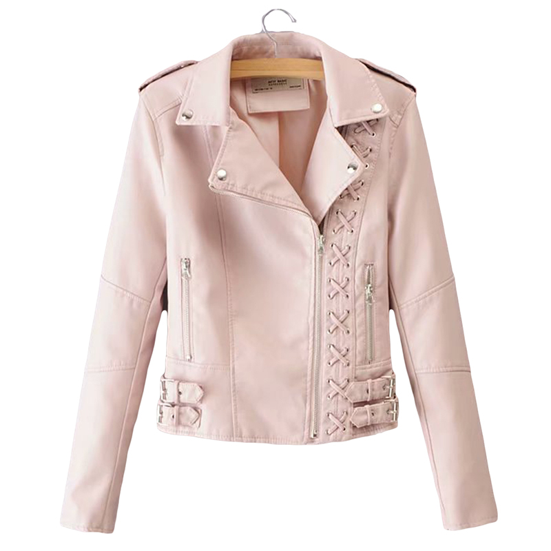 Women Motorcycle   Leather   Jacket Autumn Short PU Turn-down Collar Slim Coats Zippers Straps Fashion Casual   Leather   Parkas YP1191