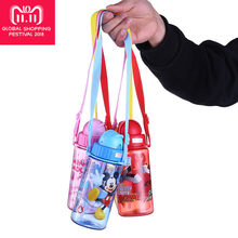 Disney 400ml Kids Water Bottle Drink Bottle Straw Drinking Mickey Mama Bottle My Bottle With Rope Buy 2pcs 10% off Water Tumbler(China)