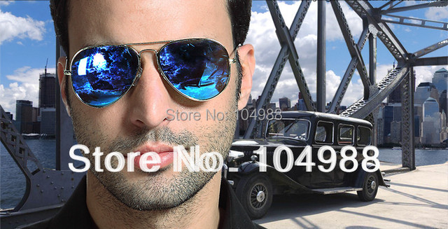 Hot Sale Free shipping BLUE MIRROR LENS MIRRORED SUNGLASSES SHADES BLUE LENS SILVER FRAME