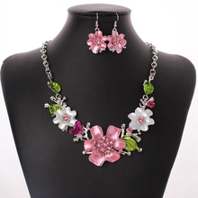 1Set Europe and America fashion sweet temperament Enamel Flowers With crystal Necklaces Earrings Sets Ms Jewelry gift T-18