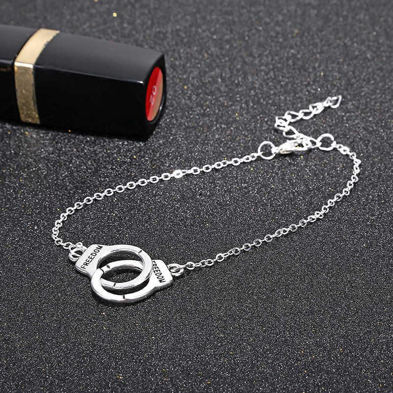 YAOLOGE ホット販売ファッション二重丸アンクレットシンプルな手錠ユニークな個性ブレスレットヴィンテージステートメントジュエリー女性