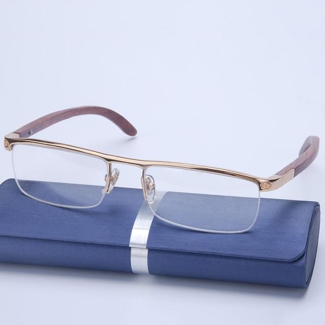 Vazrobe Wood Gold Glasses Frame Men Rimless Wooden Rim