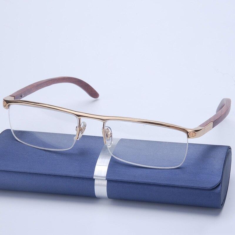 Vazrobe Marca Mens Óculos Armações de Óculos de Madeira Moldura de Ouro  para o Homem de Óculos de Prescrição Óptica Óculos Metade Aro De Madeira 0c20174c29
