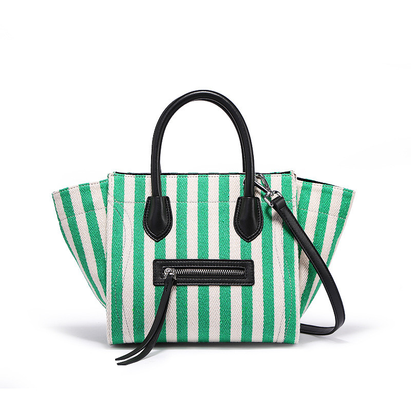 2018 Fashion Lady Handbags Women Canvas Messenger Bags Shopping Bags Ladies Casual Green Striped Smiling face Hand Bag Party japanese pouch small hand carry green canvas heat preservation lunch box bag for men and women shopping mama bag