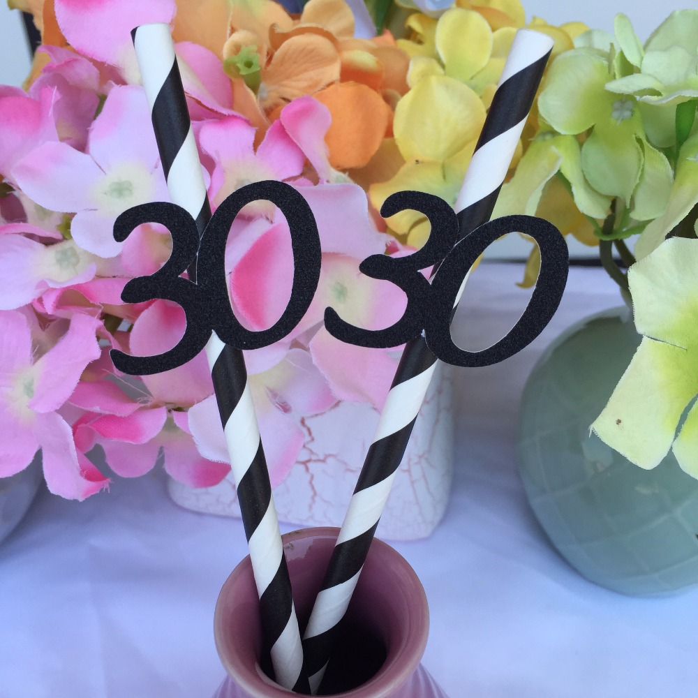 Adult happy 30th birthday party decoration paper straw decor striped adult happy 30th birthday party decoration paper straw decor striped straws black gold purple pink 30 in disposable party tableware from home garden on izmirmasajfo Images