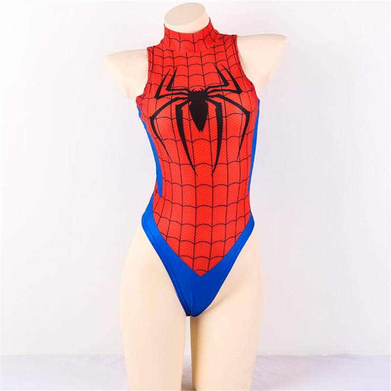 edfda929d4c4ab Superhero Movie Spider Man Swimsuit Cosplay Costumes Student Japanese Soft Girl  Sexy ACGN Sukumizu Tights Jumpsuits