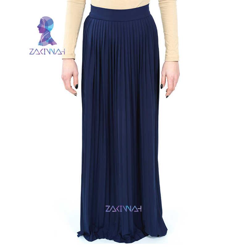 734b9b632a ... New Fashion Long Muslim maxi skirt turkey arab clothing solid Islamic  high waist pleated skirt plus
