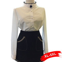 Pleated Stand Collar Pearl Button Up White Blouse Shirt Plus Size Tops For Women 4XL 5XL
