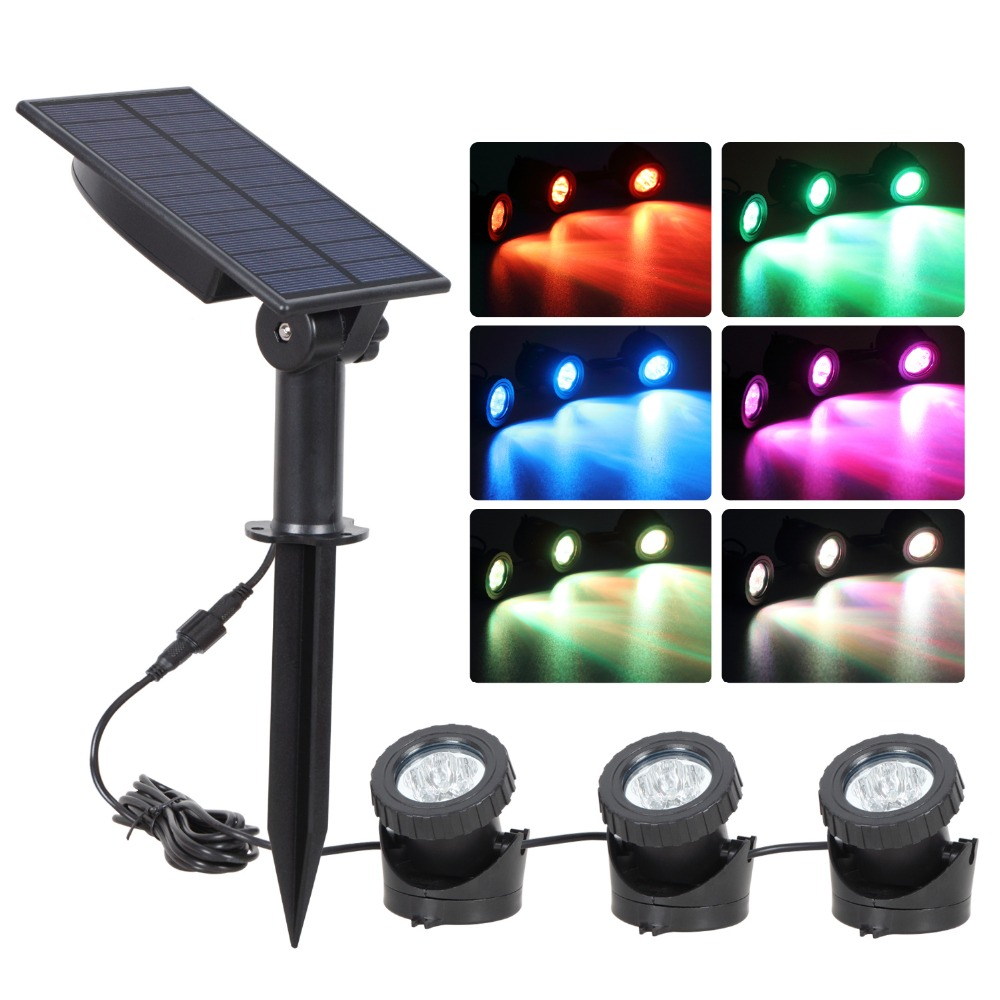 T SUN Solar Underwater Pond Lights Waterproof Submersible Lamps Projector Light for Garden Pool Pond Yard
