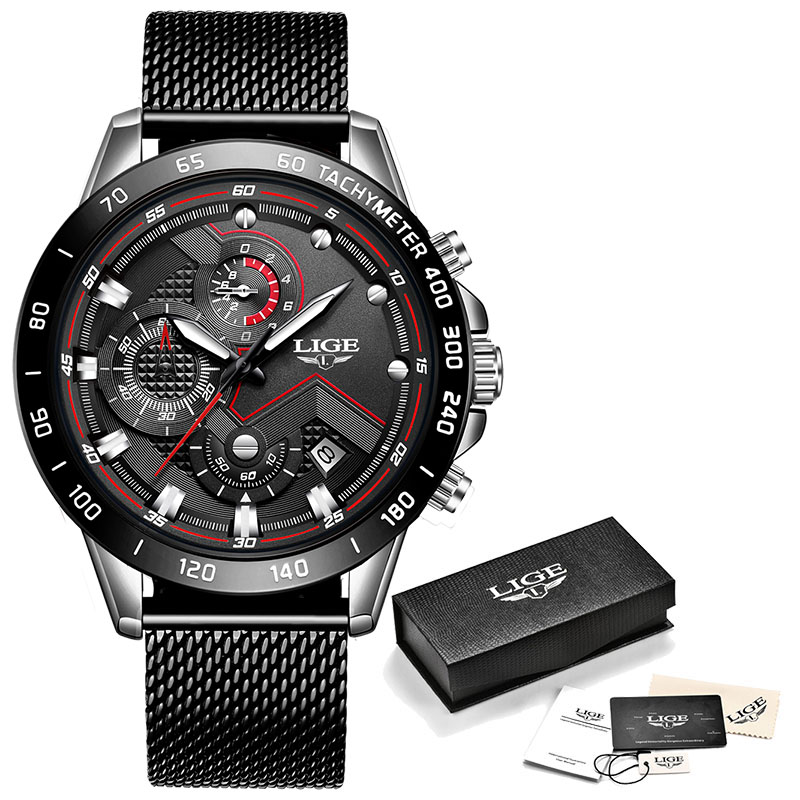 LIGE Fashion Mens Watches Top Brand Luxury WristWatch Quartz Clock Blue Watch Men Waterproof Sport Chronograph Relogio Masculino 10