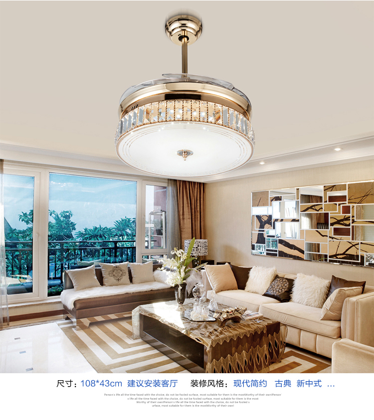 LED Dimming Ceiling Fan Lights Crystal Folding Retractable Modern Simple Livingroom Dining Room Bedroom Lamp In Fans From