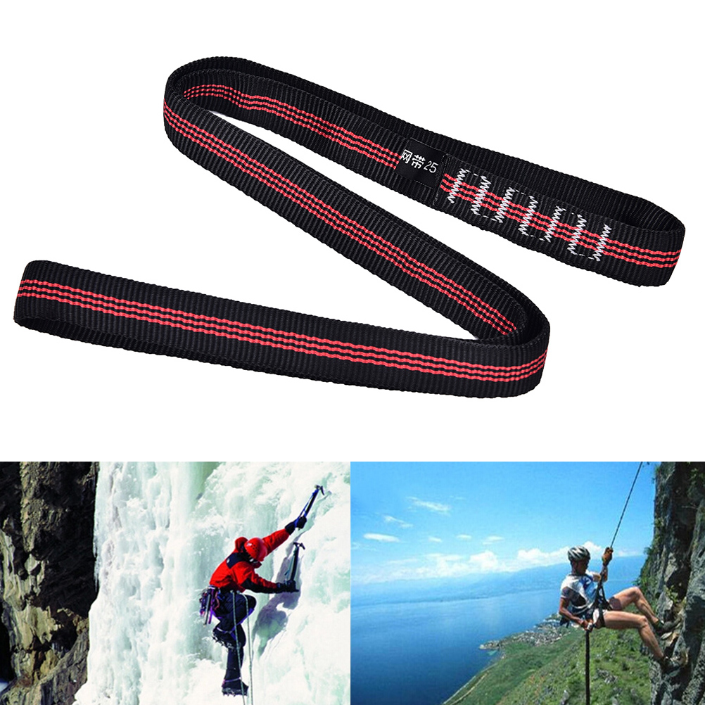 Rock Climbing Sling Rope Protector 25KN 60cm Nylon Bearing Strap Reinforce Rope Belt Arborist Mountaineering Equipment