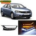 eeMrke LED Daytime Running Lights For VW Volkswagen Passat B7 2012 2013 2014 White DRL Light Fog Lamp Cover Kits
