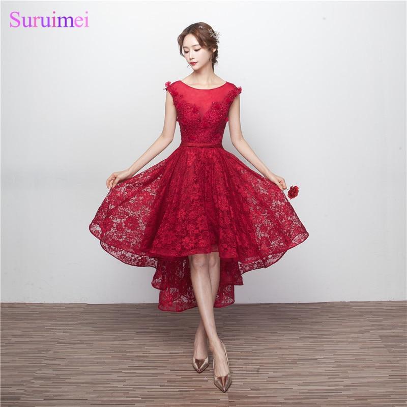Free shipping Cap Sleeve High Low Wine Red Prom Dresses 2017 Burgundy Vestido Corto De Fiesta Key Hole Tea Length Prom Gown