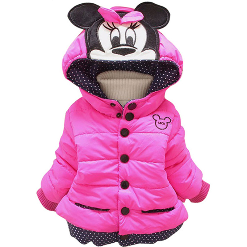 Infant Baby Girls Autumn Winter Minnie Jacket   Coat   Children Kids Warm Hoodied Outerwear Clothing Girl's   Down   Parka Clothes 1-4 Y