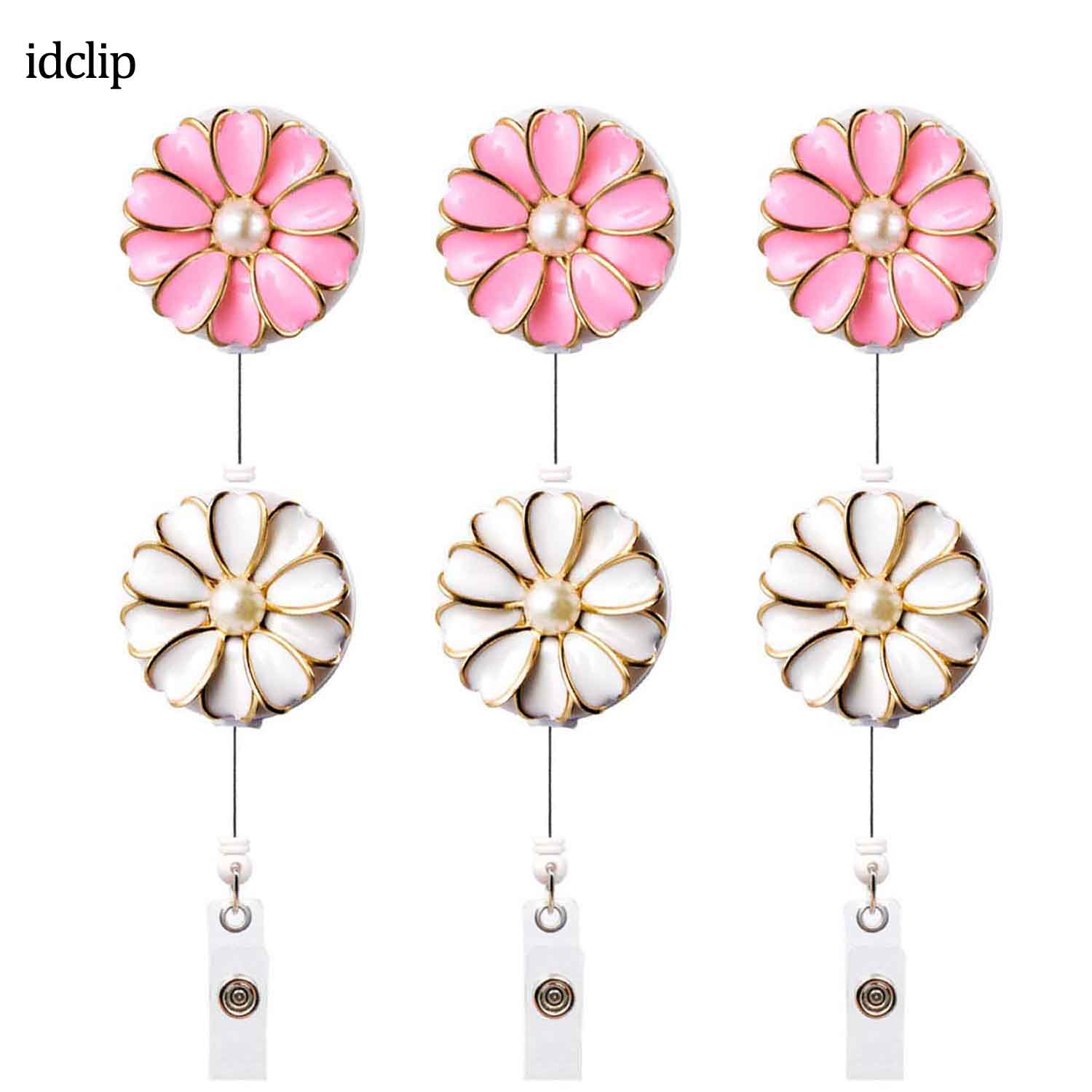 Idclip 6PCS Retractable Badge Holder With Alligator Clip Retractable Cord ID Badge Reel With Pearl 24 Inch