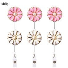 idclip 6PCS Retractable Badge Holder with Alligator Clip Cord ID Reel Pearl 24 inch