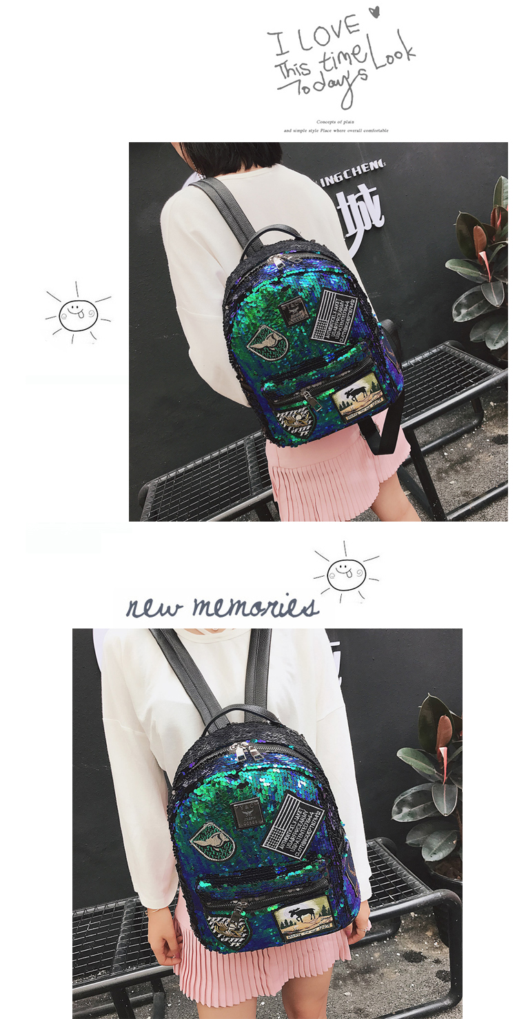 Sequin Backpack Korean version 2018 New Personality Badge Fashion Backpack Wild Casual 12
