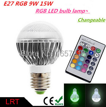 LED RGB Bulb 85-265V E27 9W 15W led Bulb Lamp with Remote Control multiple colour led lighting 1pcs/Lot