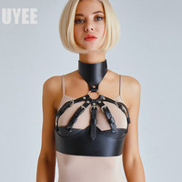 UYEE High Quality Wide Leather Belt Strap Garter Belt Woman Sexy Lingerie With Collar Body Harness Harajuku Bra Garters LB 130