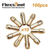 цена на 100 Pack Mini Brass Keyless Drill Collet Chuck for Micro Twist Drill Dremel Rotary Tool 0.5/0.8/1.0/1.2/1.6/1.8/2.0/2.4/3.0/3.2