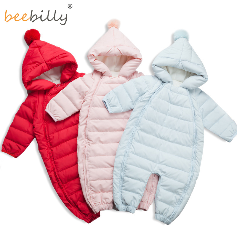 High Quality Baby Rompers Winter Thick Warm Baby Girls Clothing Long Sleeve Hooded Jumpsuit Baby 90% Duck Down Jackets for -25 casual 2016 winter jacket for boys warm jackets coats outerwears thick hooded down cotton jackets for children boy winter parkas