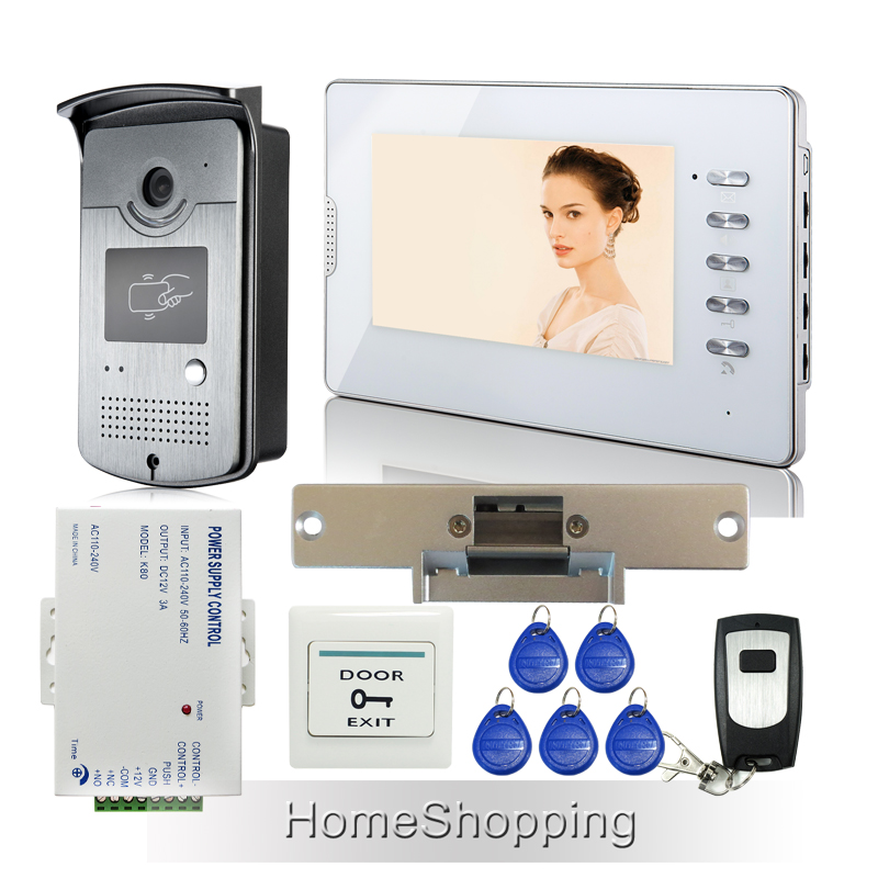 FREE SHIPPING 7 Home Color Video Door phone Intercom System 1 RFID Access Camera 1 White monitor Electric Strike LOCK Wholesale free shipping 7 video intercom door phone system 3 white monitor 1 doorbell camera for 3 household rfid access strike lock