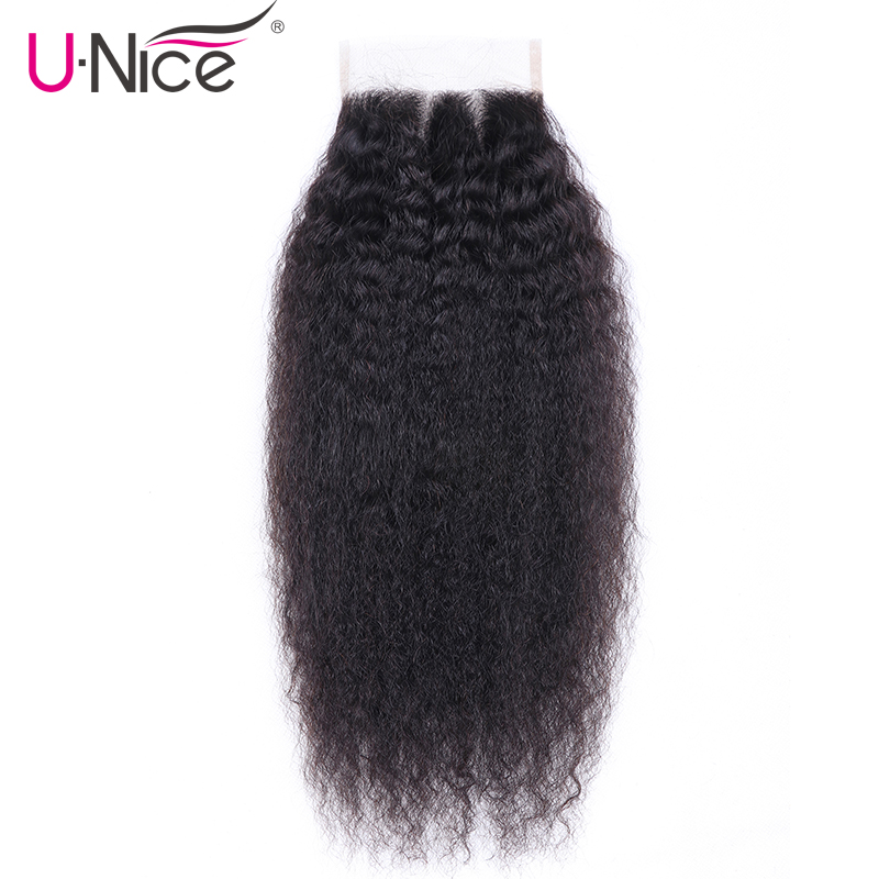 Unice Lace Closure Hair Brazilian-Hair Straight Kinky Natural-Color 4x4 100%Remy