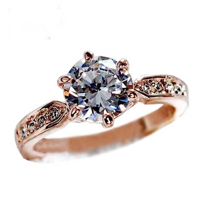 Fashion Hot Rings Purple Zircon Women Wedding Flower Jewelry Silver Gold Filled Engagement Size 6