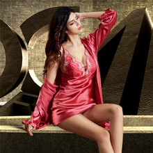 Robe Sets Female Faux Silk Sleepwear Women Satin Bathrobe Night Gown Set Red Sexy Deep V-Neck Sleeping Robes X6625