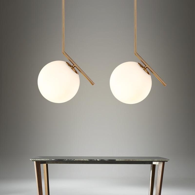 Nordic Glass Ball Pendant Lights Milk White Globe Round LED Light Fixtures For Living Room Kitchen Pendant Lamps Hanging Lamp