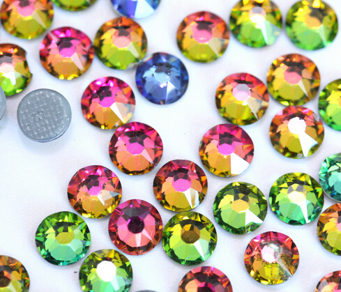 AAAA + Kvalitet Rainbow Color DMC HotFix Rhinestones ss6 ss10 ss16 ss20 ss30 Iron på Flatback Hot Fix Rhinestones for Luxury Dress