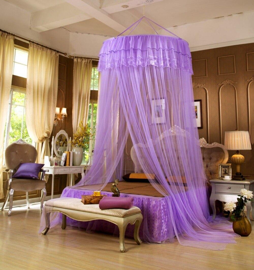Grand dôme suspendu moustiquaires pour été Polyester maille tissu maison Textile livraison gratuite MN05 Tulle Net lit rideau dentelle bord
