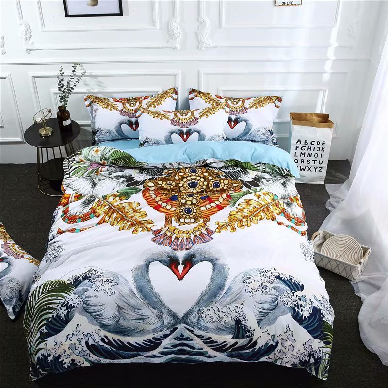 2018 Swan European Bed Cover Microfiber Polyester Bedlinens Twin Queen King Size 3/4pc Duvet Cover Set Pillowcases To Produce An Effect Toward Clear Vision Bedding Sets