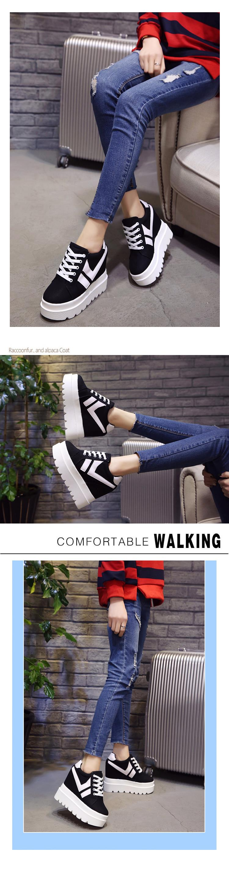 Nice New Korean Fashion Wild Super High Heels Shoes Breathable Comfort Thick Bottom Casual Shoes Women Single Shoes 11