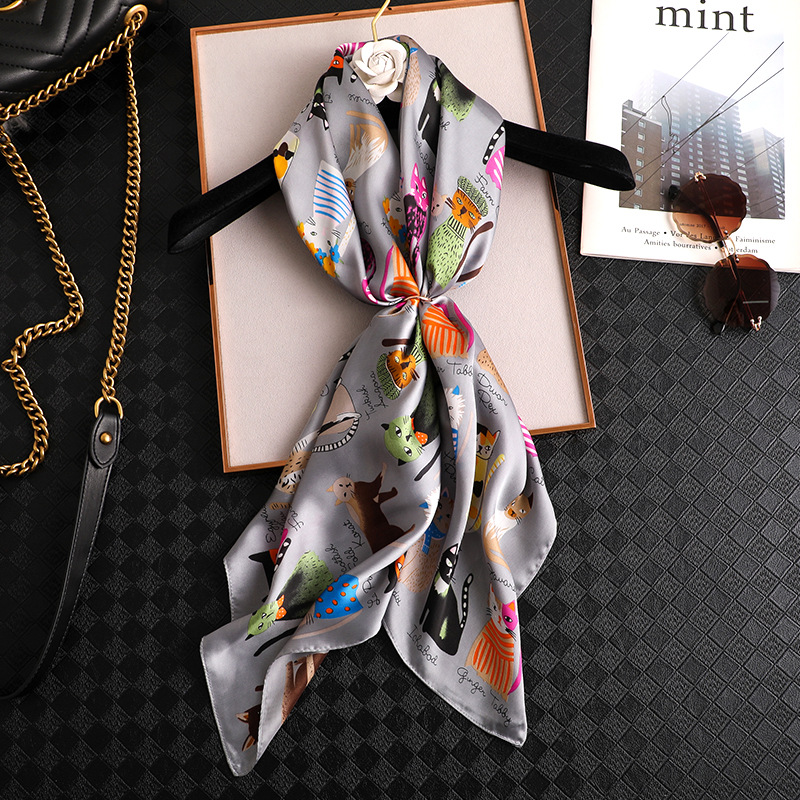New Square   Scarf   Women Fashion Cat Print Silk   Scarves   and   Wrap   Ladies Retro Spring Summer Office Hair Neck foulard