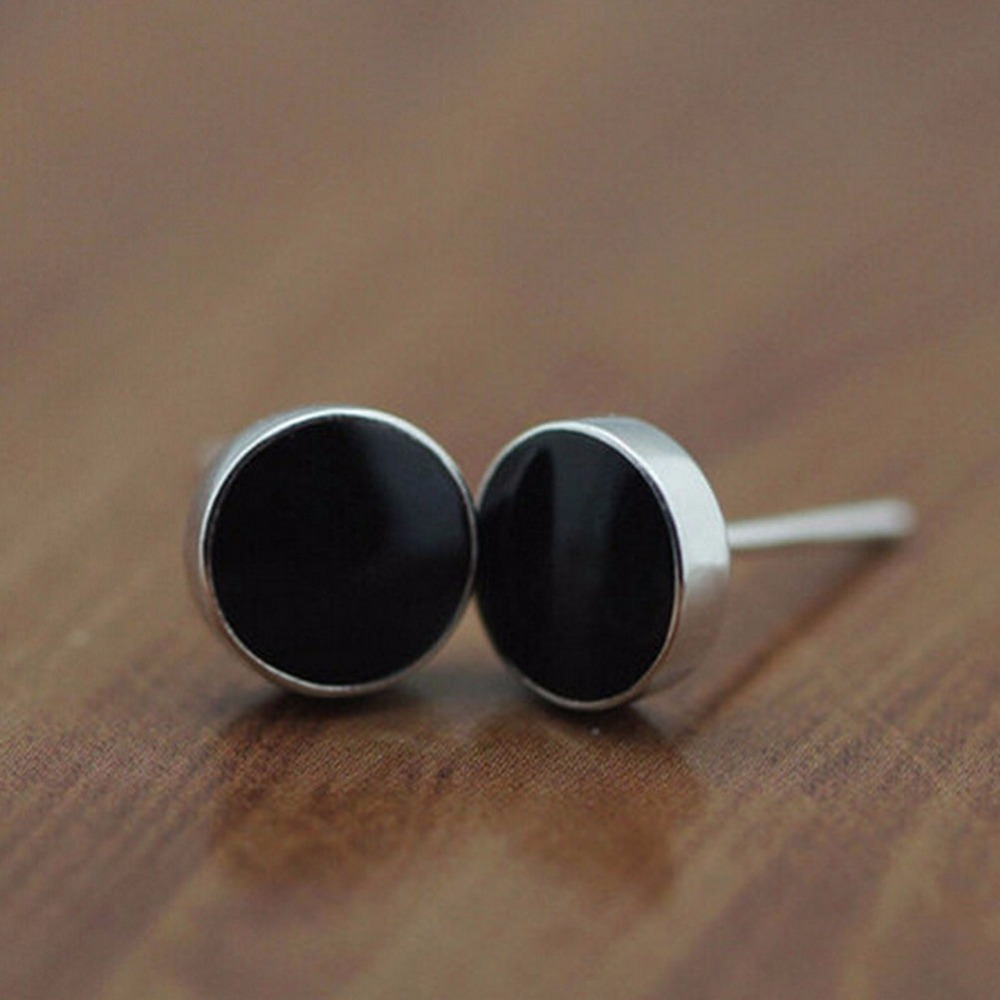earrings stud jewelry zirconia studs black bling screw post dk back cubiczirconia fashion sterling roundblack az cubic mens screwback