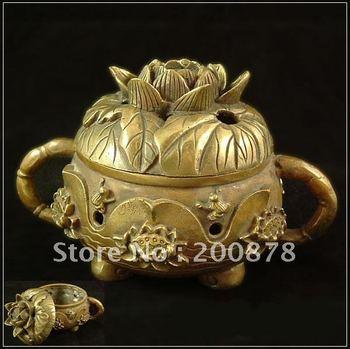 TBC848  Tibet brass lotus and  Incense burner,85*67mm,Buddhist things