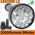 LED Flashlight 20000 Lumens 15 x CREE XM-L2 LED 5 Modes Waterproof Super Bright LED Torch Flashlight 1200m Lighting Distance