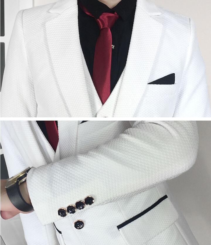 Más el tamaño 5xl traje masculino conjunto vestido formal Blanco - Ropa de hombre - foto 6