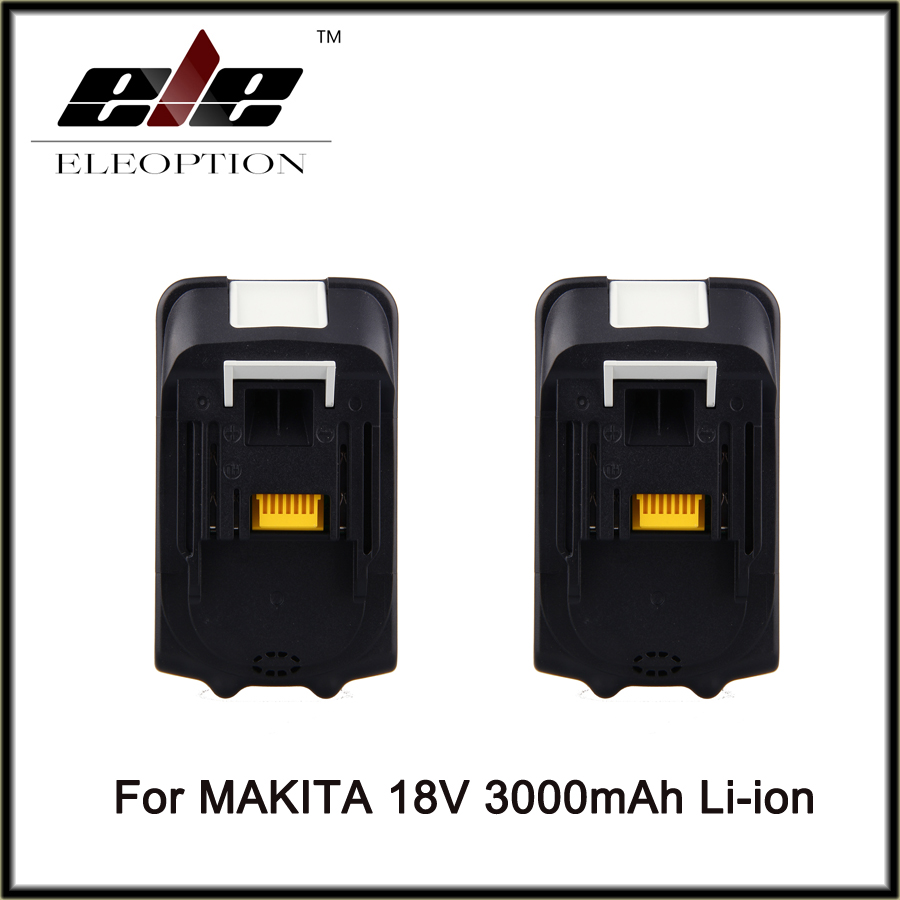 Eleoption 2 x BL1830 18V 18 Volt Li-Ion Battery For Makita 3.0Ah 3000mah LXT Batteries Free Shipping high quality brand new 3000mah 18 volt li ion power tool battery for makita bl1830 bl1815 194230 4 lxt400 charger