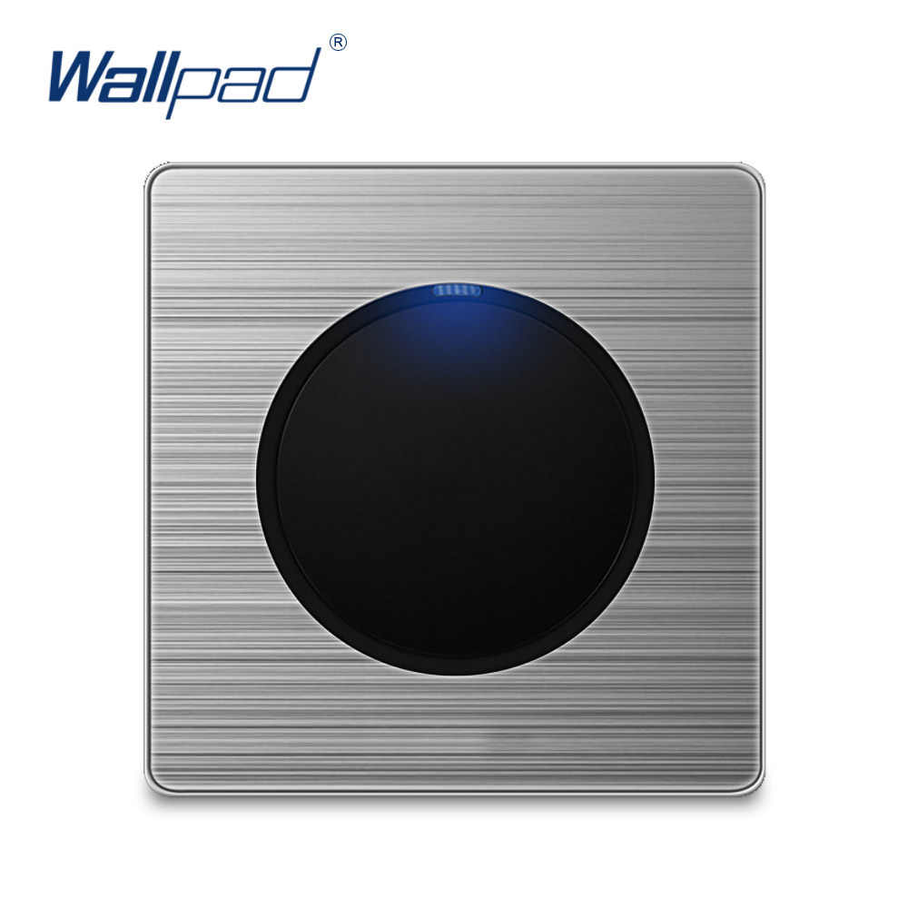 Wallpad Wall Light Switch and Socket Set Random Click Push Button With LED Indicator Stainless Steel Panel Home Electric Outlet