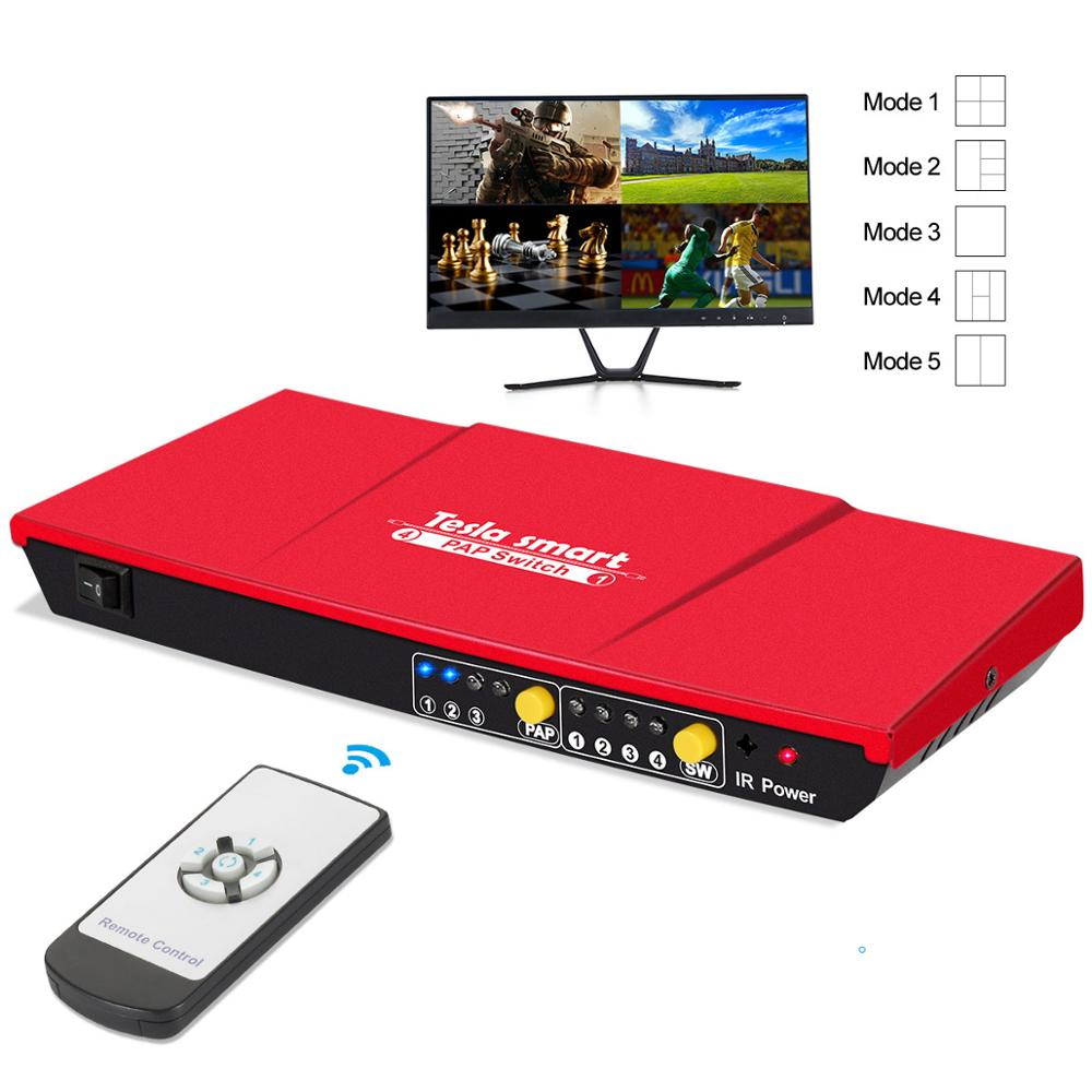 Tesla Smart 4x1 HDMI Switch 4 In 1 Out 1080P@60Hz With PAP Function Seamless Routes 4 Full HD Sources To 1 Full HD Display HDMI