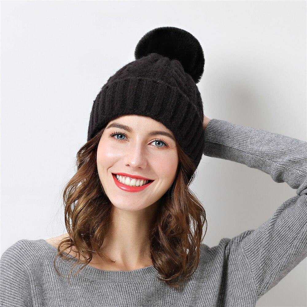 620cb269265 Double layer design winter hats for women Detachable pompom gorros girl  beanie Thicker Women s cap fur hat 2018 skullies Beanies-in Skullies    Beanies from ...