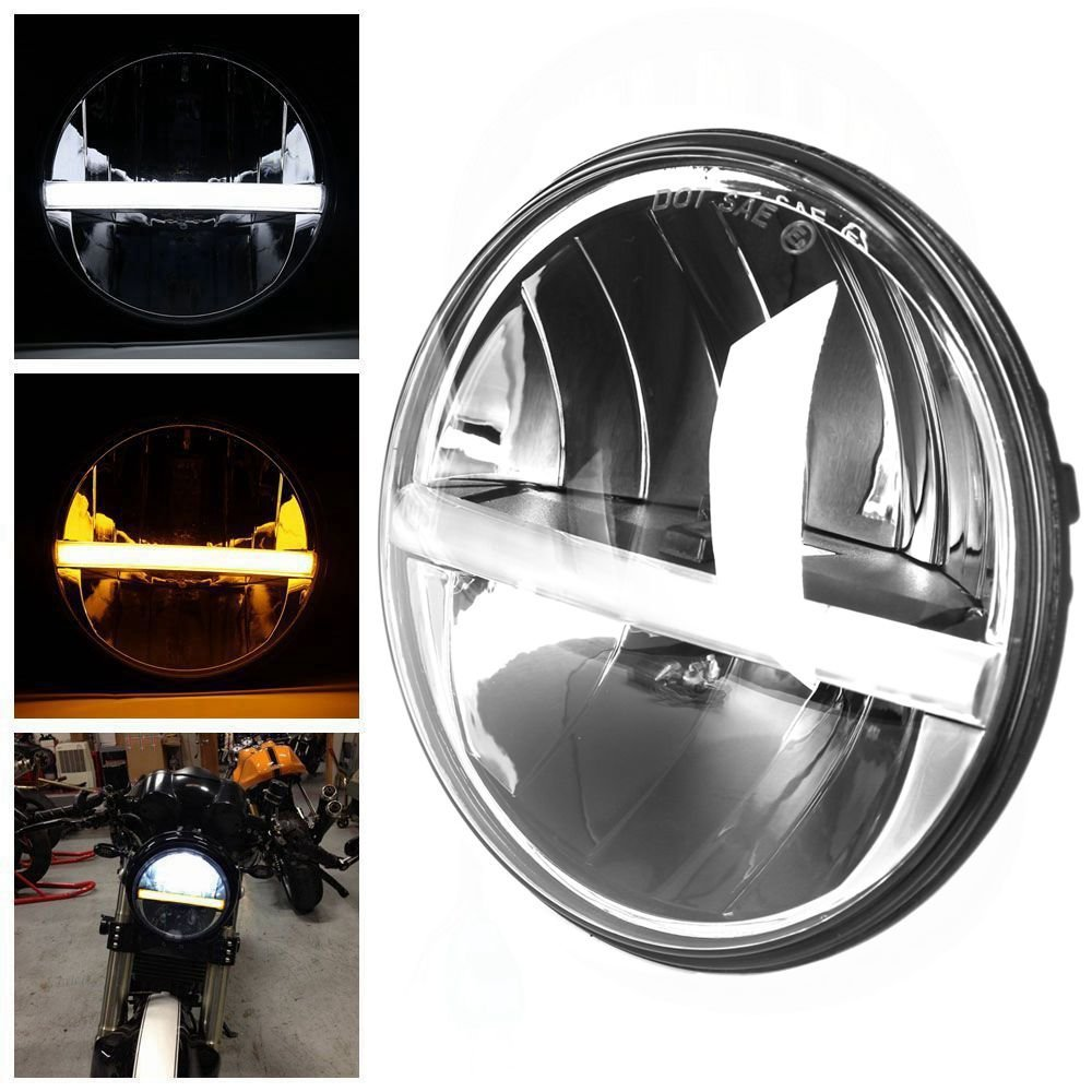 7Inch LED Headlight with Turn Signal Function for Jeep Wrangler Patrol Y60 Harley Electra Glide Ultra Classic CVO