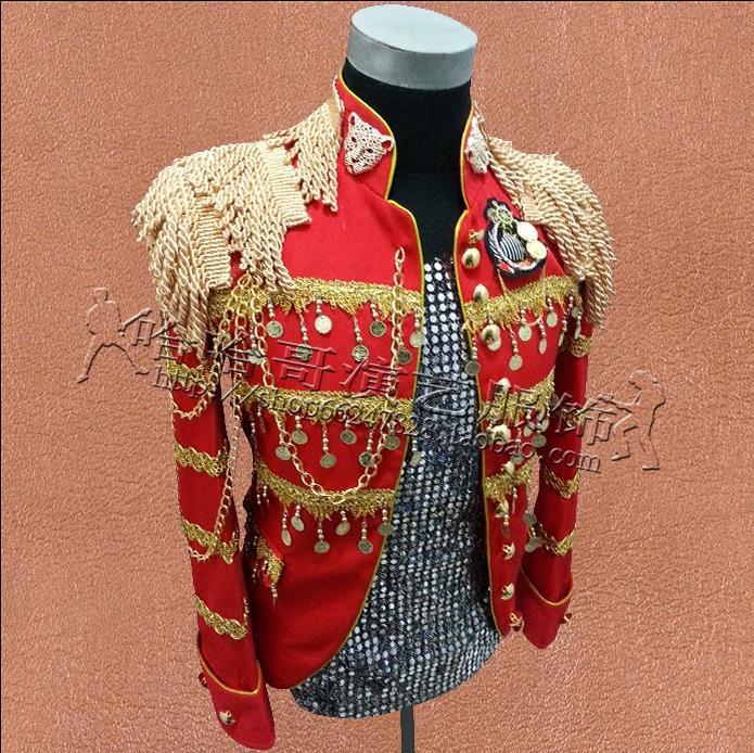 De Punk roupas vestido estilo estrela homens blazer designs homme terno figurinos para os cantores homens jaqueta ternos roupas de dança vermelho - 2