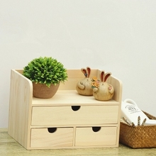 Office desk drawers cabinets cosmetics wooden storage box table solid wood