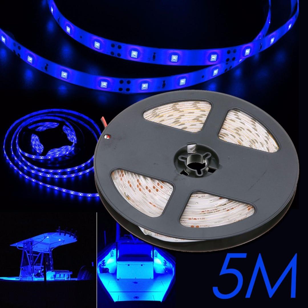 Ikvvt 5 м Водонепроницаемый DIY Синий 3528 300LED 60led/м автомобиля Лодка Гибкая свет лампы